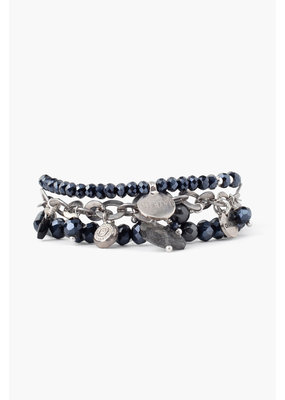 CHAN LUU Black Mix Crystal Bracelet Set