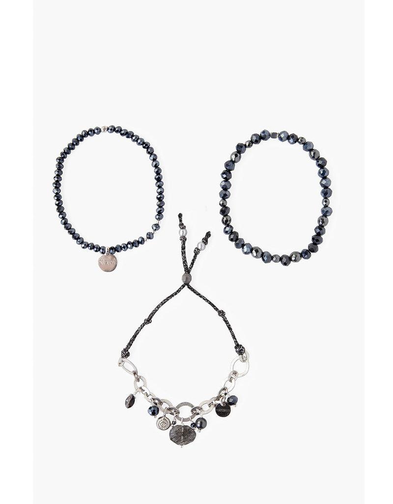 CHAN LUU Black Mix Crystal Bracelet Set