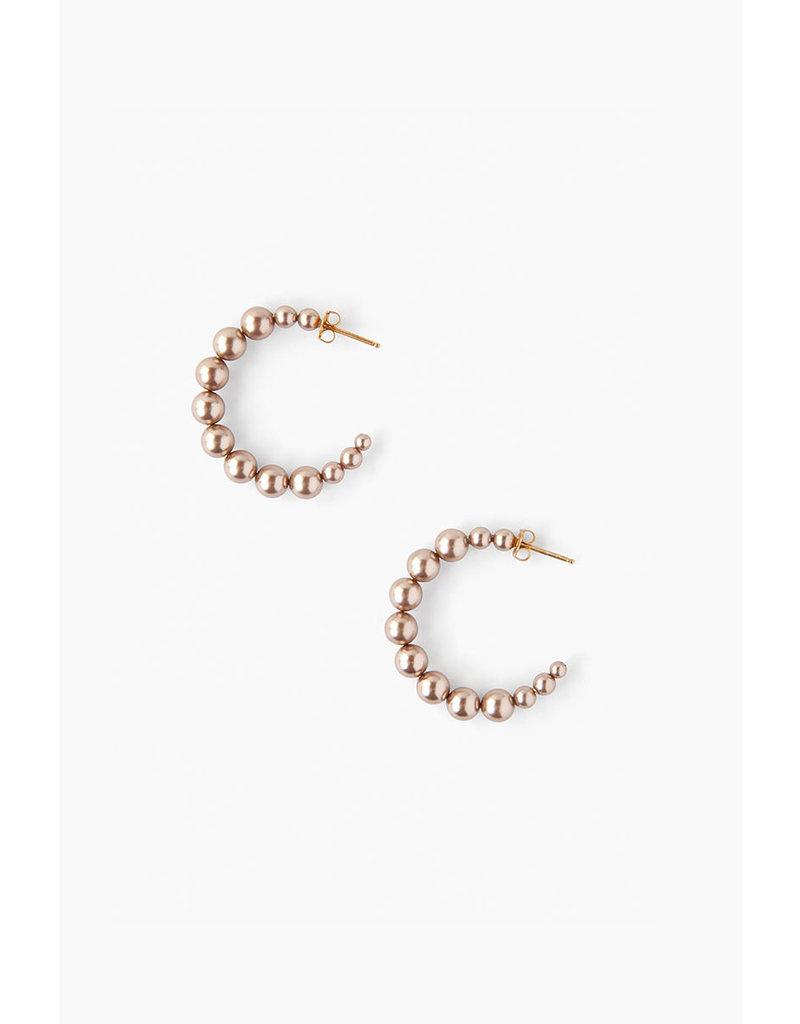 CHAN LUU Standard Bronze Pearl Holly Hoop Earrings
