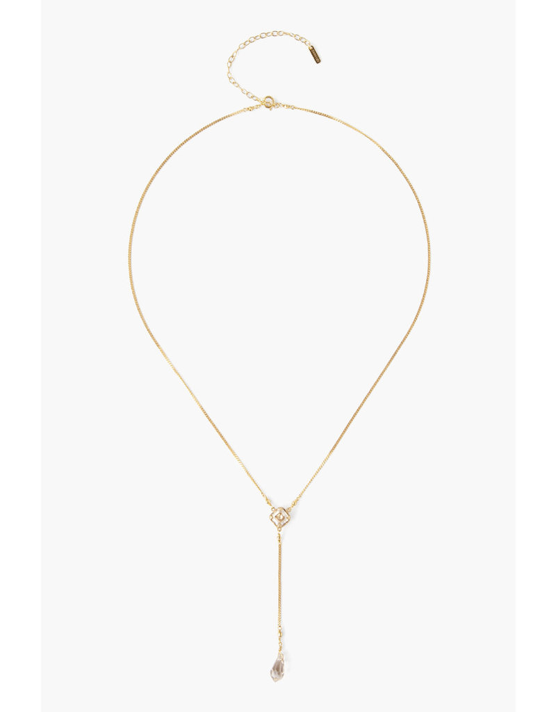CHAN LUU Gold Golden Shadow Crystal Y-Necklace