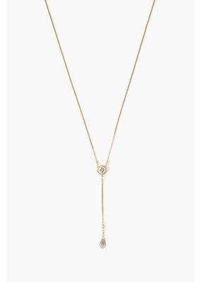 CHAN LUU Gold Golden Shadow Crystal Y-Necklace