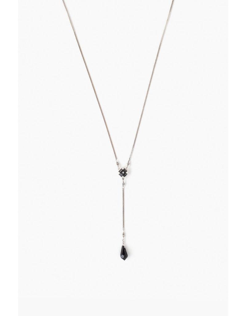 CHAN LUU Silver Night Crystal Y-Necklace