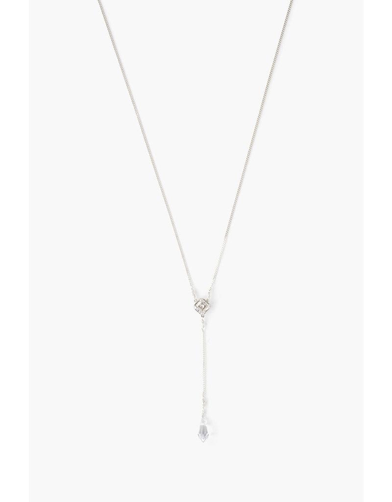 CHAN LUU Silver Shade Crystal Y-Necklace