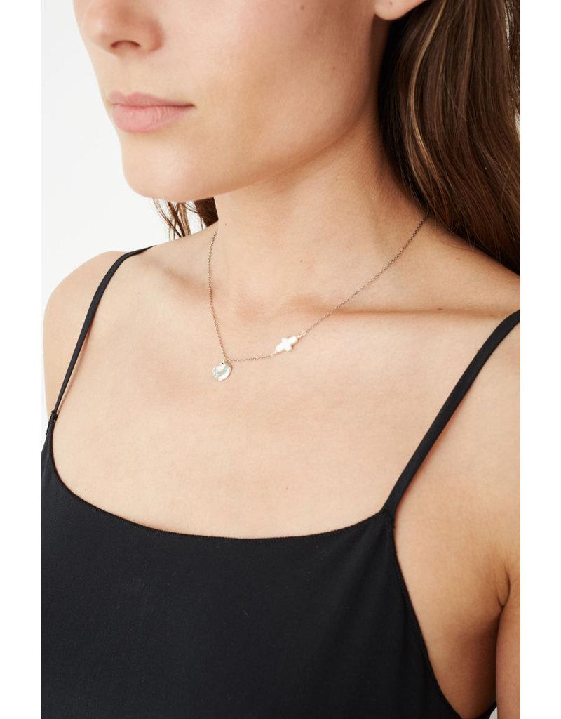 CHAN LUU Silver Cross Pearl Motif Necklace
