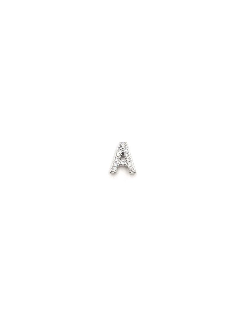 Sterling Silver CZ Single Initial Stud