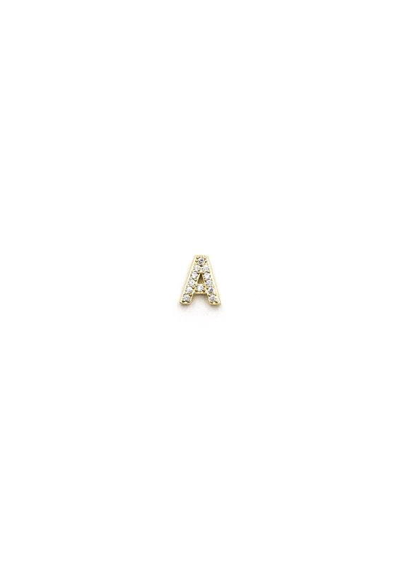 14K Gold Plated CZ Initial Stud