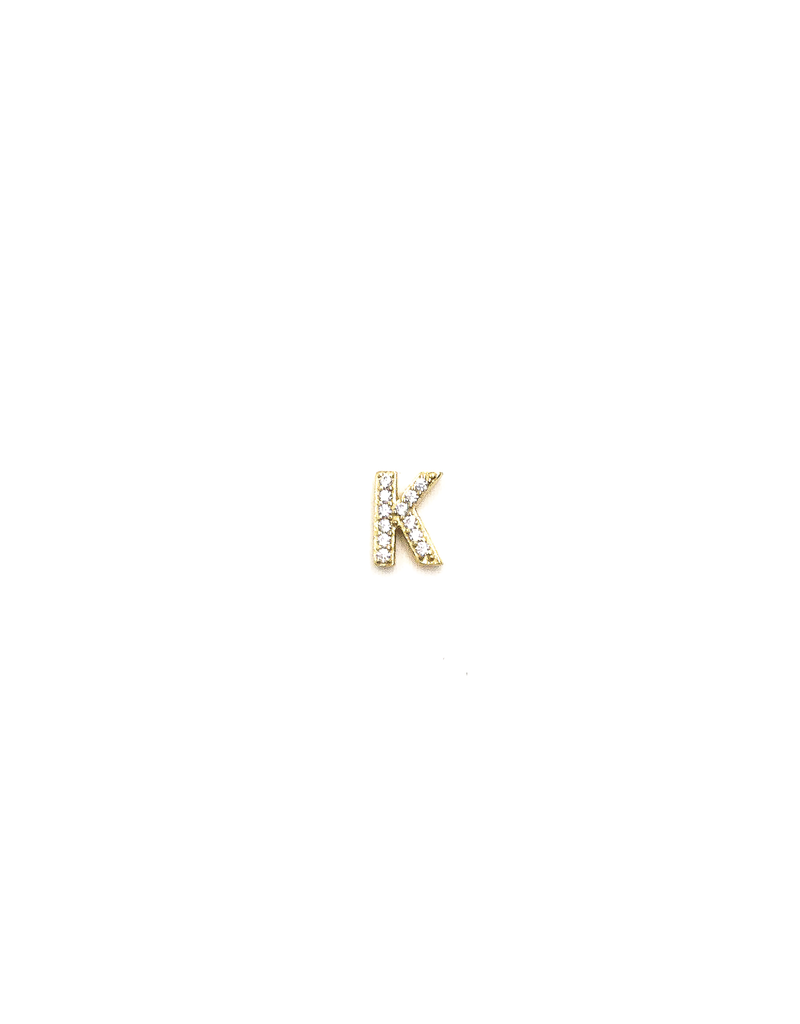 14K Gold Plated Single CZ Initial Stud