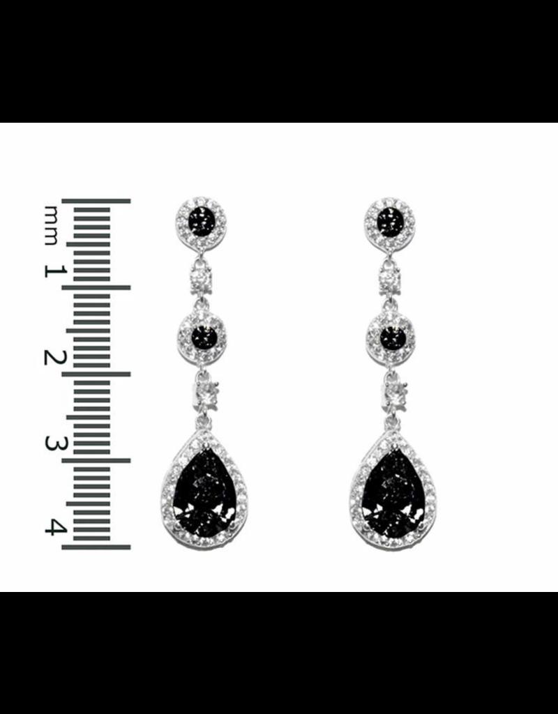 Black CZ Tear Drop Earrings