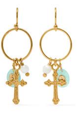 CHAN LUU Gold Cross Hoops w Amazonite Dangle Earrings