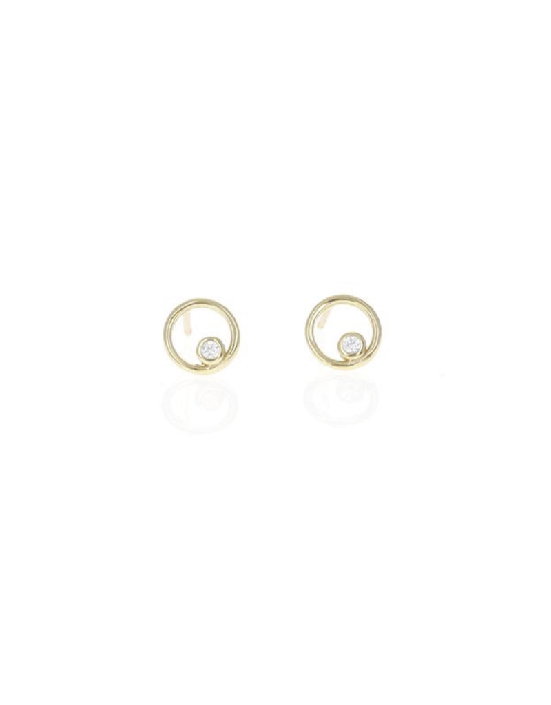 14K Gold Plated Floating CZ Circle Studs