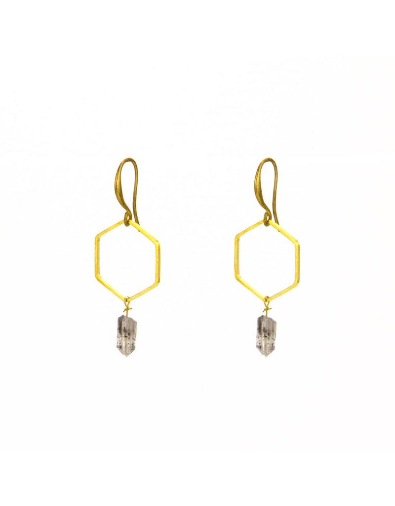 Santoré Herkimer Diamond Hexagon Earrings