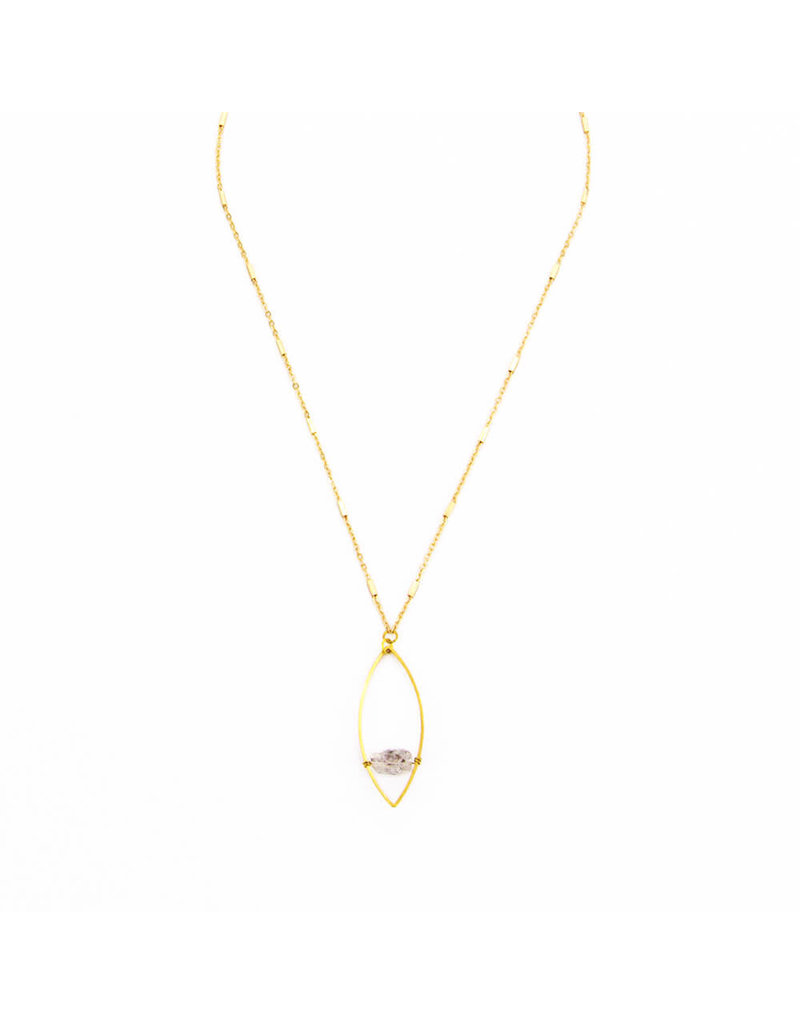 Santoré Herkimer Diamond Floating Marquise Necklace