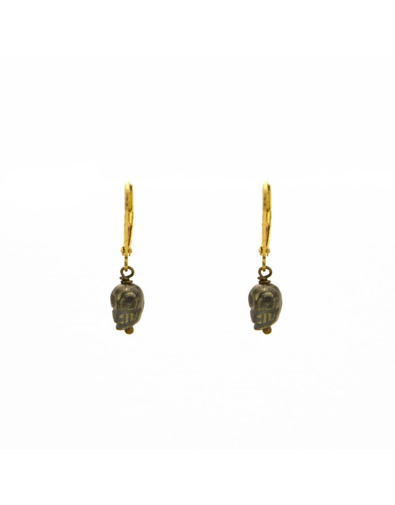 Santoré Carved Pyrite Dainty Skull Earrings