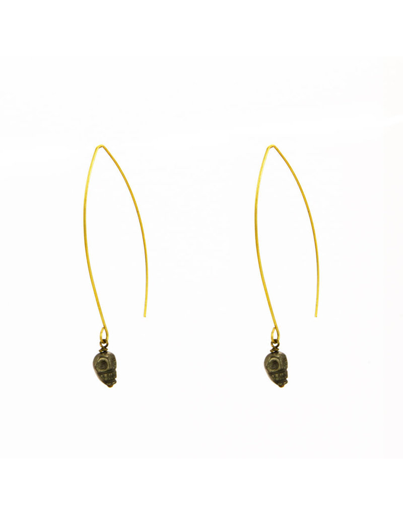 Santoré Carved Skull Pyrite Wire Earrings