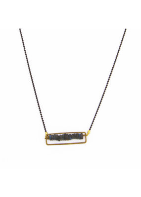 Santoré Gunmetal Floating Heishi Rectangle Necklace