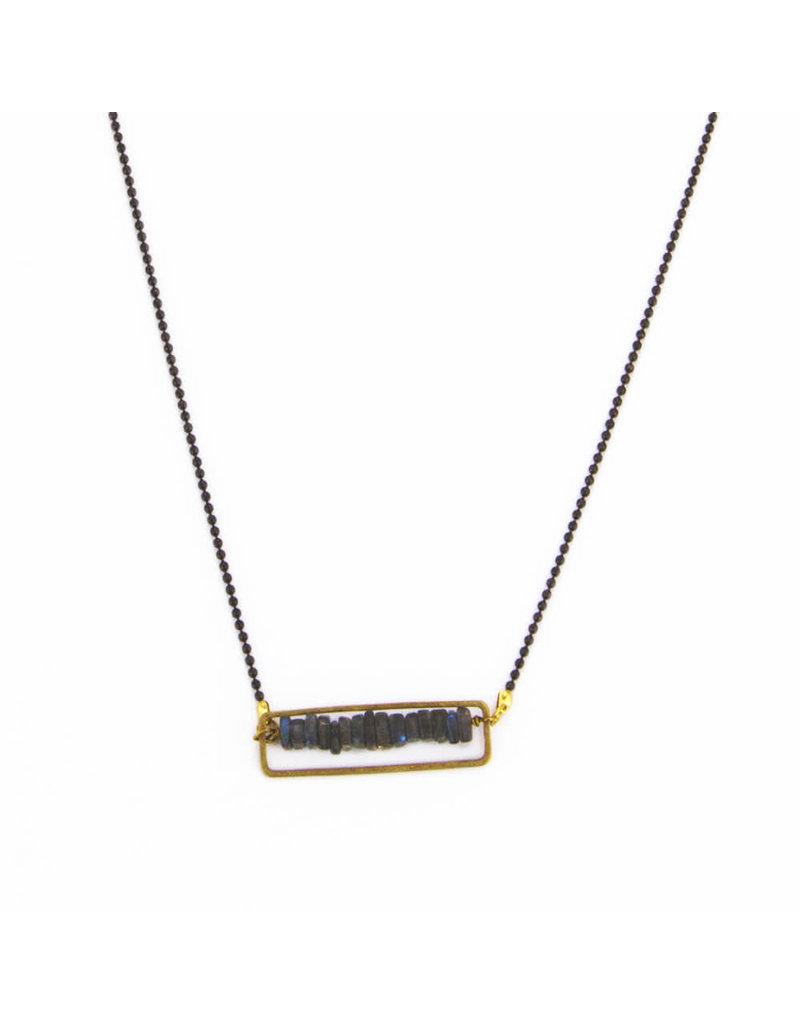 Santoré Gunmetal Floating Heishi Rectangle Necklace