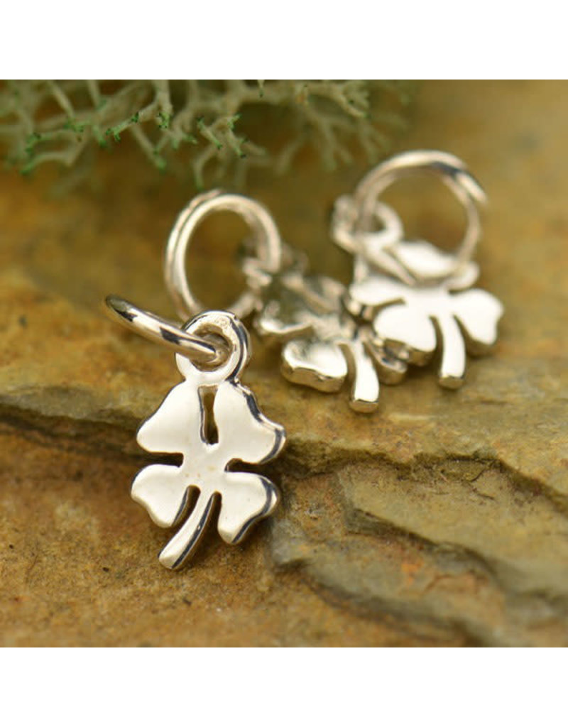 Sterling Silver Tiny Four Leaf Clover Charm
