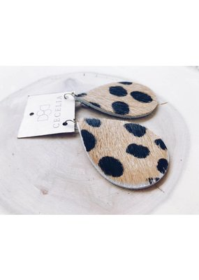 Cecelia Leopard Large Leather Teardrop Earrings