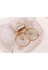 Cecelia Gold Bubble Mini Feather Hoop Earrings