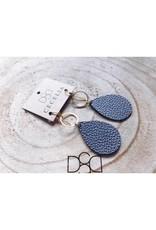 Cecelia Hematite Small Teardrop Leather Earrings
