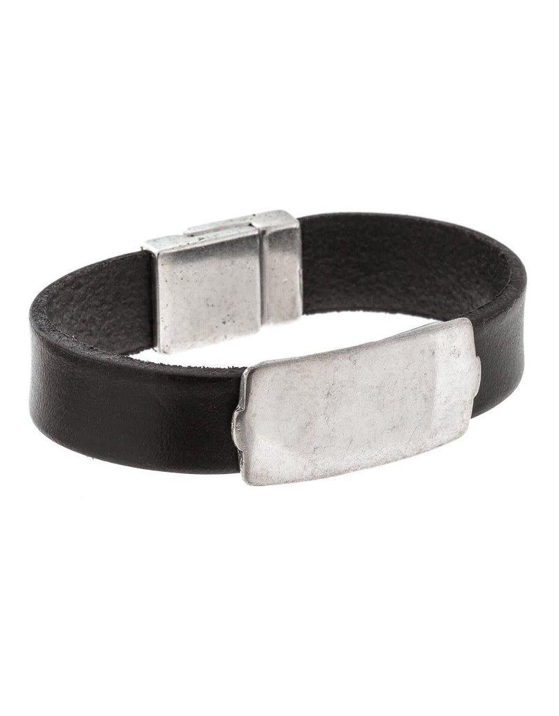 Trades Black Leather Silver Band Magnetic Bracelet