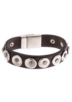 Trades Black Leather Studded Circle Bracelet