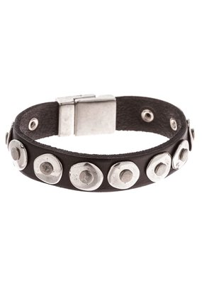 Trades Black Leather Studded Circle Magnetic Bracelet