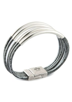Trades Metallic Grey Leather Bar Magnetic Bracelet