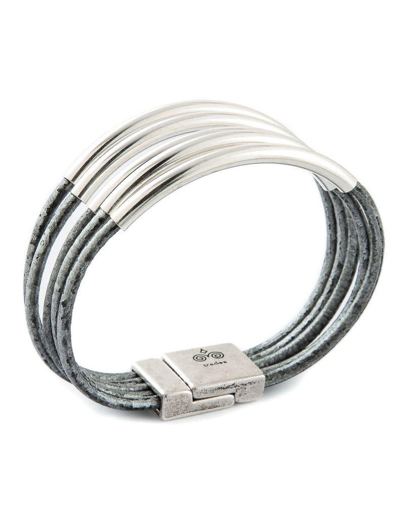 Trades Metallic Grey Leather Bar Magnetic Bracelet