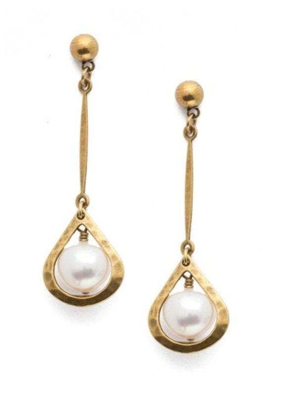 Sorrelli Rosetta Polished Pearl  Antique Gold Earring