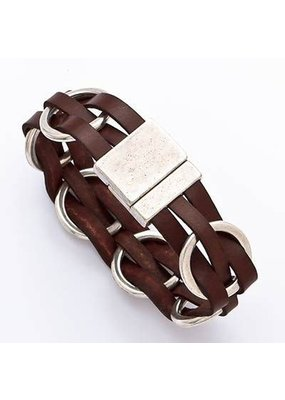 Trades Interlaced Brown Leather Magnetic Bracelet