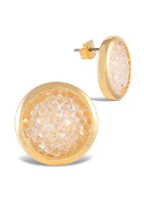 Gold Bezel Set Crystal Studs