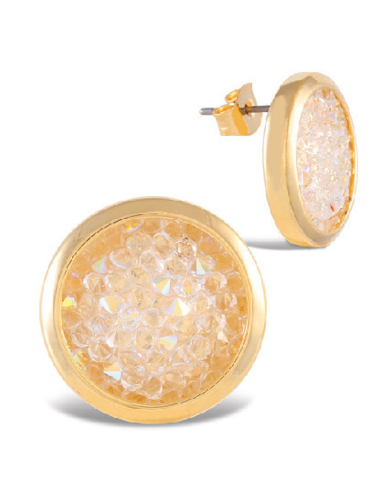 Gold Bezel Set Crystal Stud Earrings