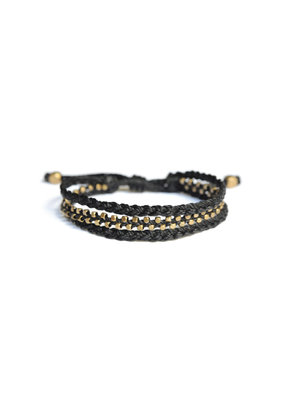 Didi Jewerly Project Black Brass Bead Braided Pull Bracelet