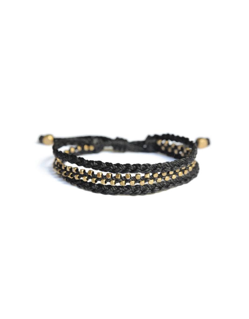 Didi Jewerly Project Black Brass Bead Braided Pull Bracelet