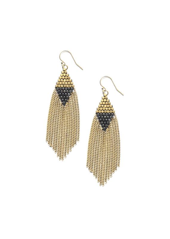 Didi Jewerly Project Color Block Brass Tassel Earring