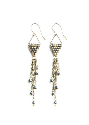 Didi Jewerly Project Brass Pyrite Rain Drop Tassel Earring