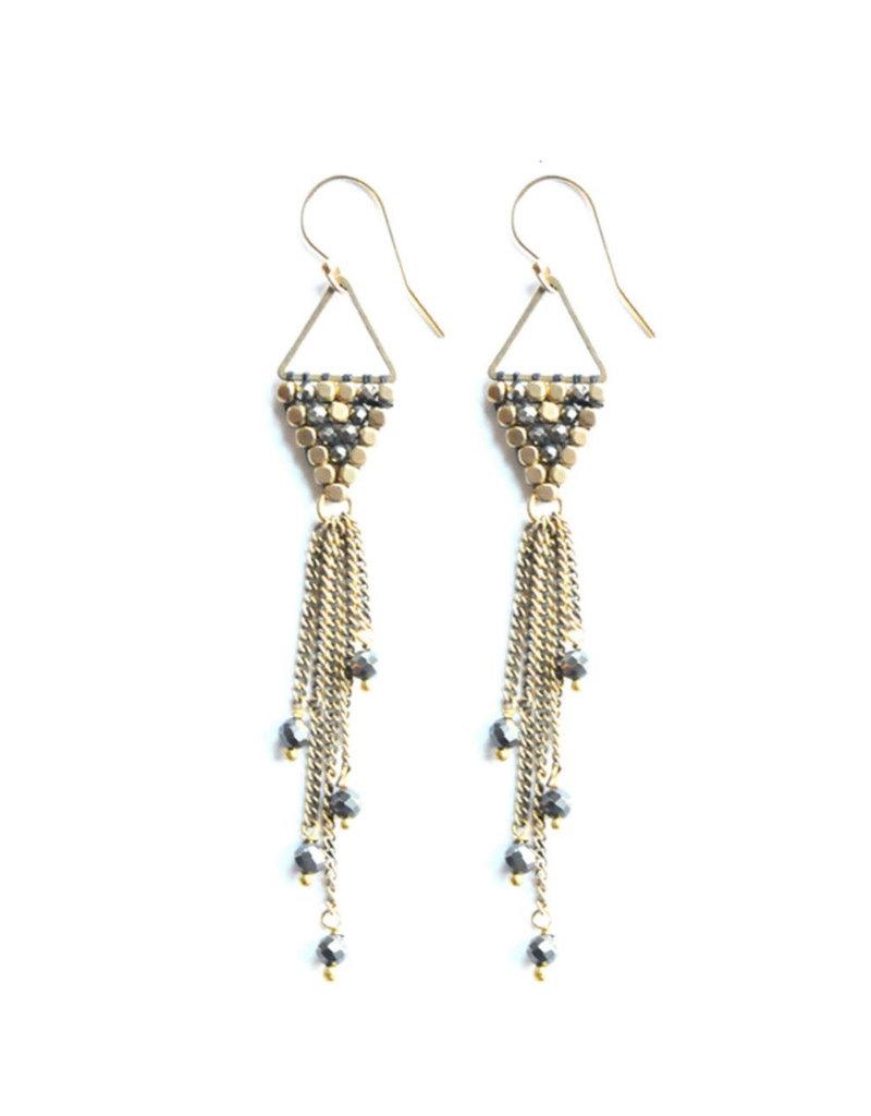 Didi Jewerly Project Brass Pyrite Rain Drop Tassel Earring