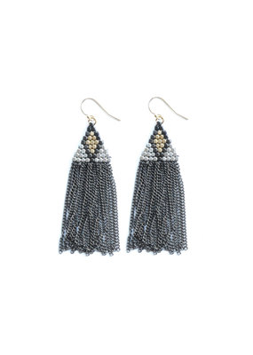 Didi Jewerly Project Mixed Metal Diamond Bead Tassel Earring