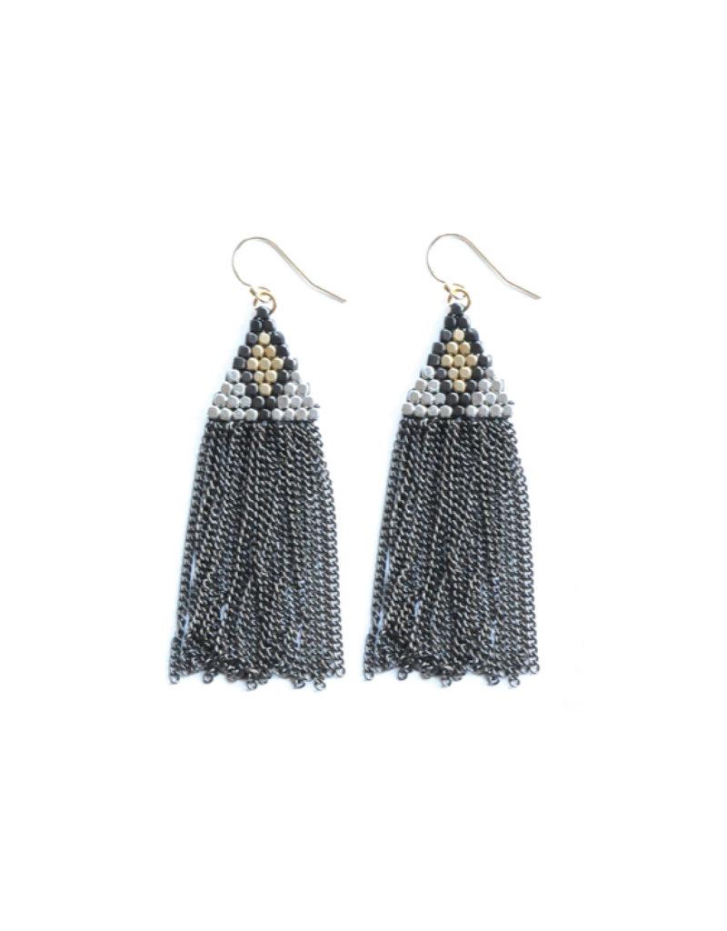 Didi Jewerly Project Mixed Metal Diamond Bead Tassel Earring