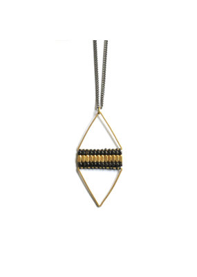 Didi Jewerly Project Brass + Ox Diamond Bead Necklace