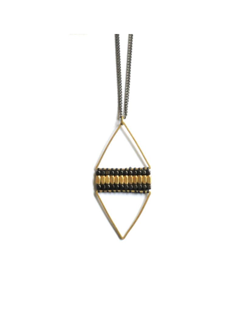 Didi Jewerly Project Brass + Ox Diamond Bead Necklace