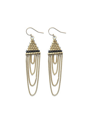 Didi Jewerly Project Brass + Gunmetal Triangle Tassel Earring