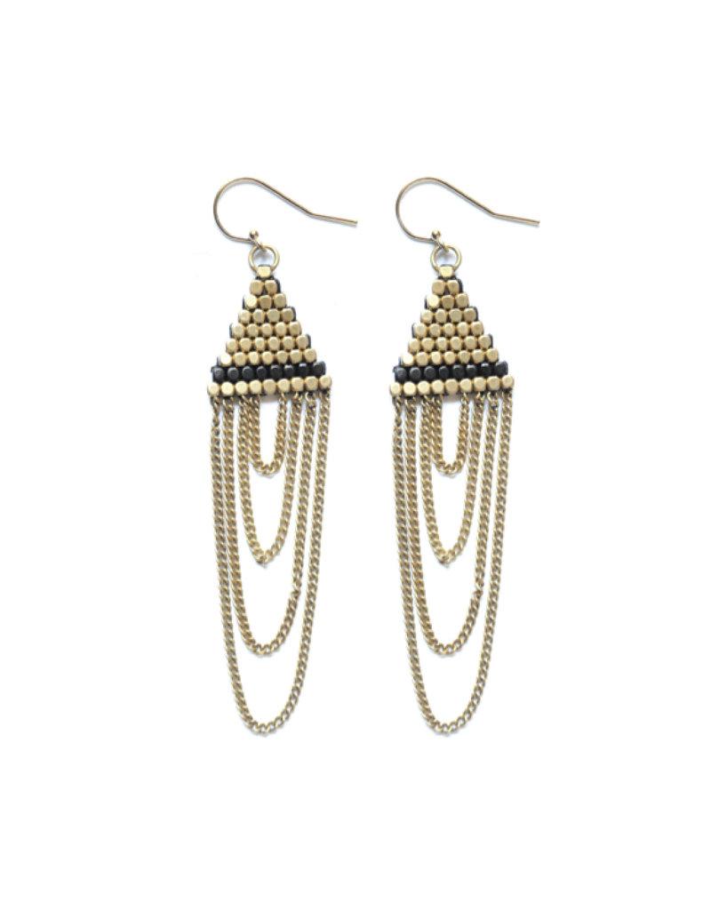 Didi Jewerly Project Brass + Gunmetal Triangle Tassel Earring