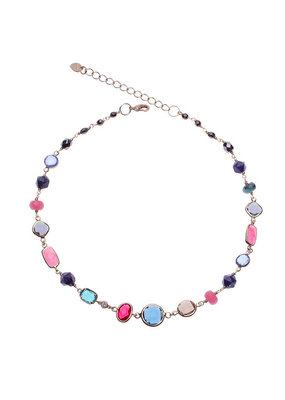 Nakamol Gold Multi Color Bead Necklace