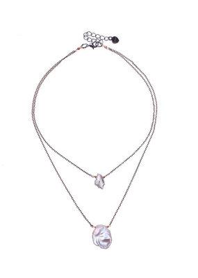 Nakamol Double Gunmetal Pearl Necklace