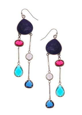 Nakamol Gold Dangle Earring w Lapis Stone