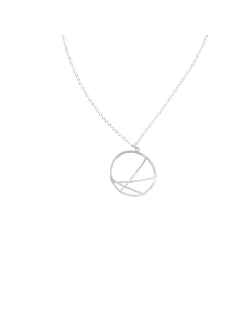 Joy Susan Silver Skewed Circle Necklace