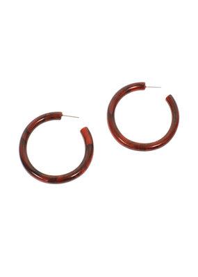 Joy Susan Red Resin Hoop Post Earrings