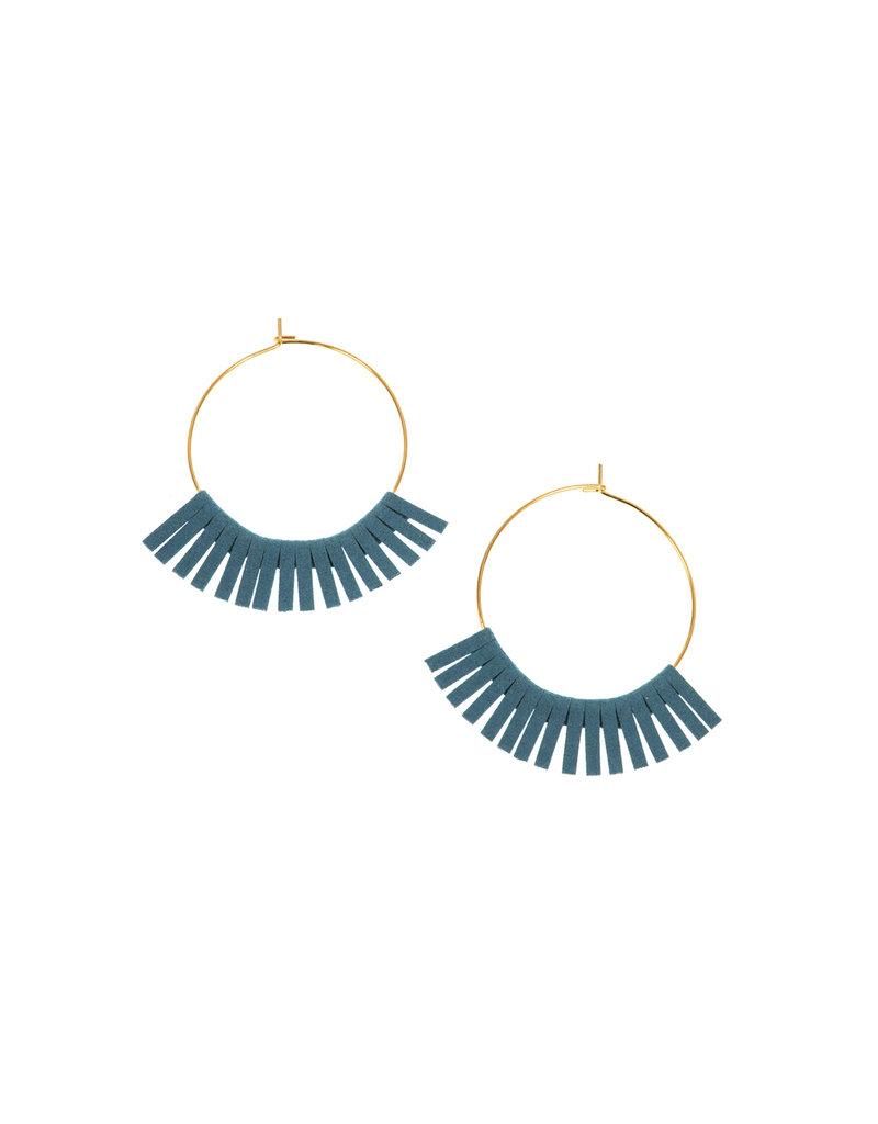 Joy Susan Gold Hoop W Turquoise Fringe Earrings